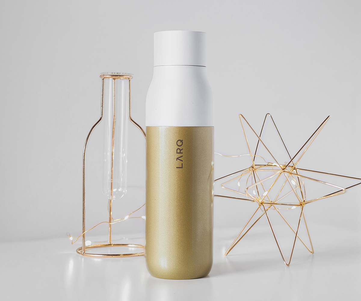 LARQ Bottle Benefit Edition Sahara Gold bottle Well Aware