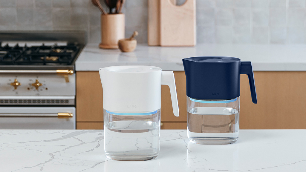 LARQ Pitchers in Pure White and Monaco Blue