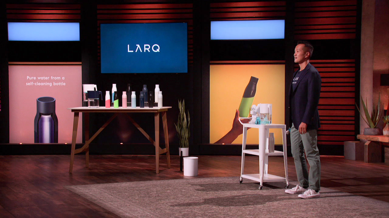 Shark Tank featuring LARQ self-cleaning UV water bottle and CEO & co-founder Justin Wang